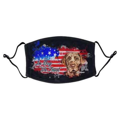 Labradors.com - Watercolor Chocolate Lab In Dog We Trust - Adult Adjustable Face Mask