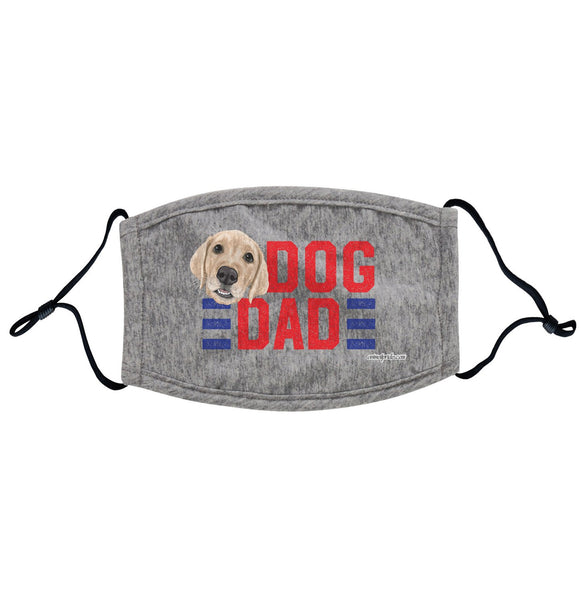Red Dog Dad - Yellow Lab - Adjustable Face Mask, Breathable, Reusable, Printed in USA