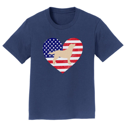 USA Flag Yellow Lab Silhouette - Kids' Tee Shirt