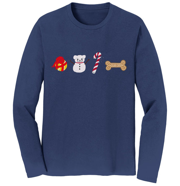 Xmas Lab Pattern | Holiday Apparel | Long Sleeve T-Shirt