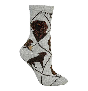 Chocolate Lab - Grey Cotton Crew Socks