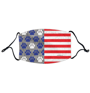 USA Flag - Blue Paw Prints - Adjustable Face Mask, Breathable, Reusable, Printed in USA