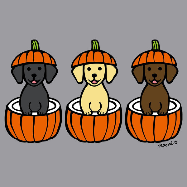 3 Pumpkin Lab Pups Left Chest - Adult Unisex Full-Zip Hoodie Sweatshirt