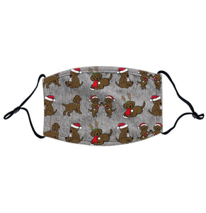 Christmas Chocolate Labrador Puppy Pattern | Adjustable, Breathable Face Mask