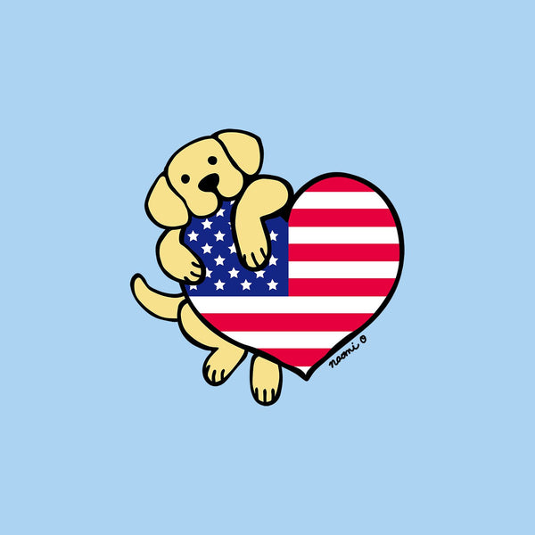 Yellow Lab USA Flag Heart Left Chest - Kids' Unisex T-Shirt