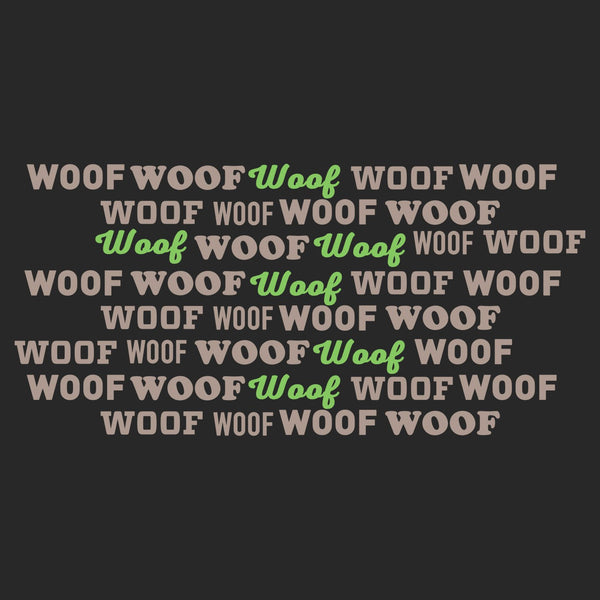 Woof Text Pattern - Adult Adjustable Face Mask