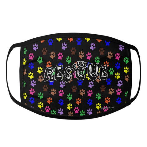 Colorful Dog Paw Prints - Rescue Dog - Face Mask