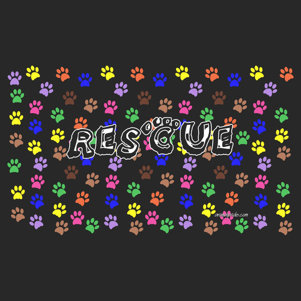 Colorful Dog Paw Prints - Rescue Dog - Adult Unisex Face Mask