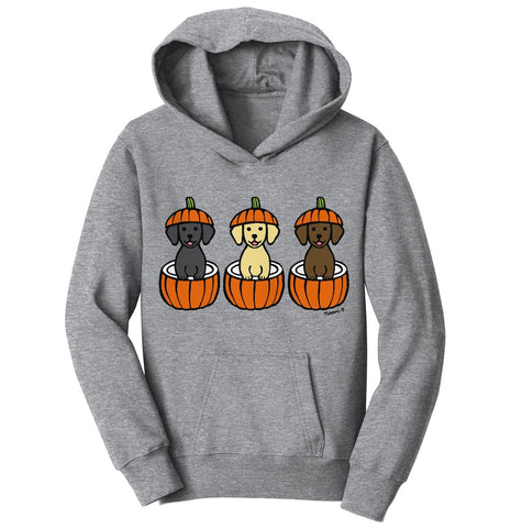 3 Pumpkin Lab Pups - Halloween - Kids' Hoodie Sweatshirt