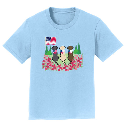 Labradors.com - USA Flag Bandanas on Three Labs - Kids' Tee Shirt