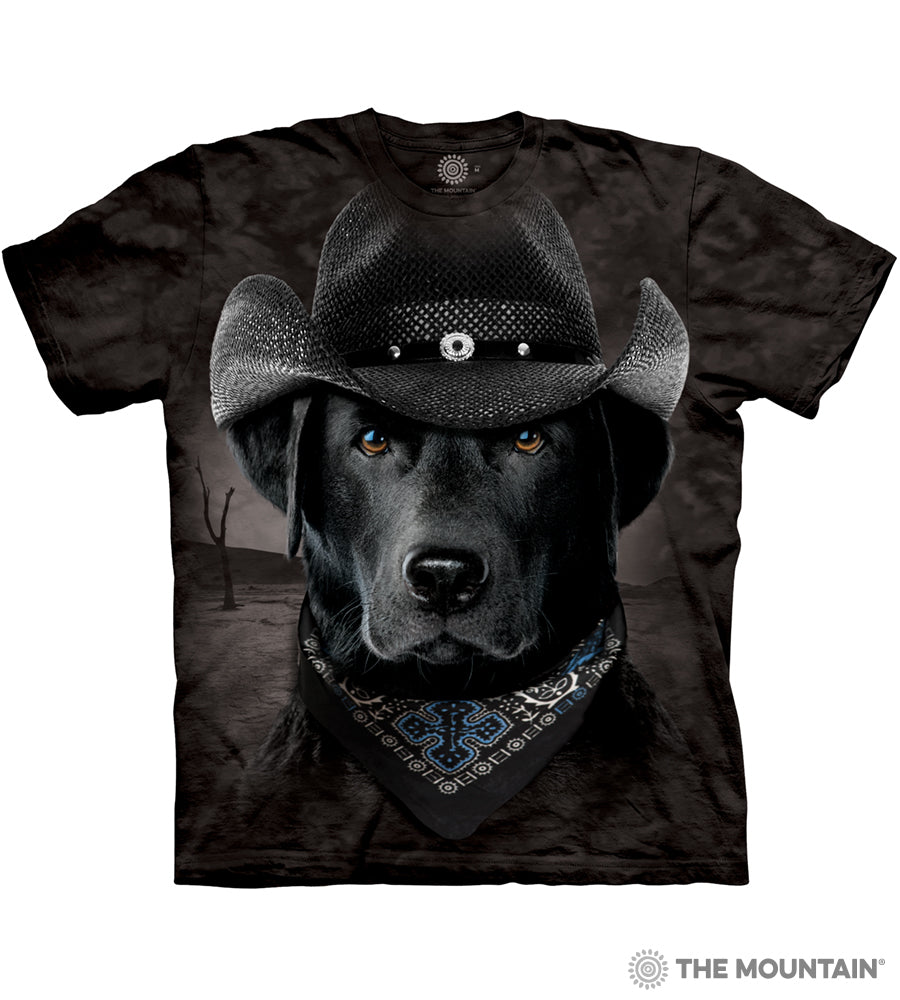 The Mountain Cowboy Lab - Adult T-Shirt - Black Labrador