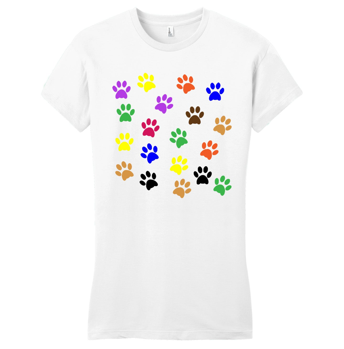 Colorful Paw Prints - Women's Fitted T-Shirt