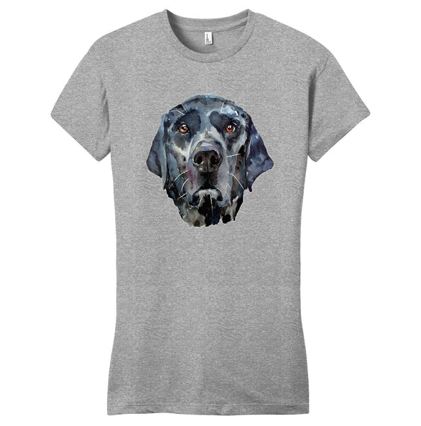 Black Lab Face Watercolor - Women's Fitted T-Shirt