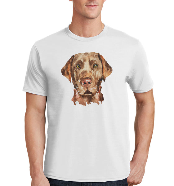 Chocolate Lab Face Watercolor - Adult Unisex T-Shirt