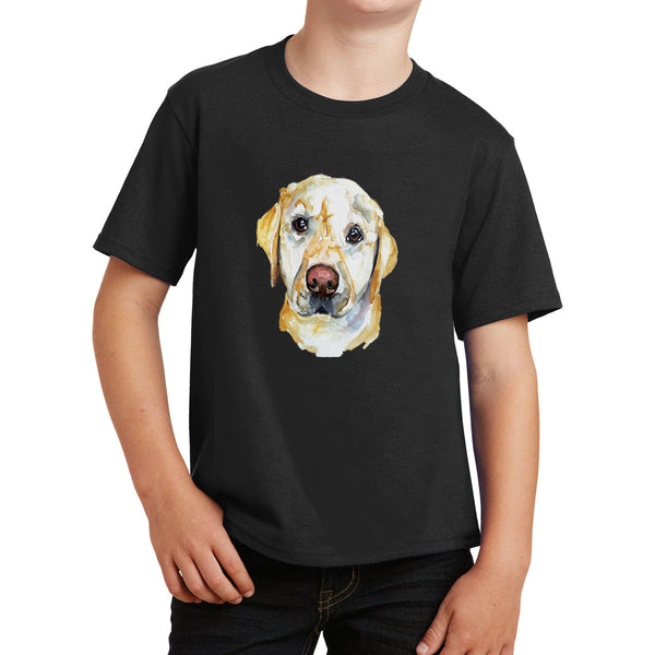 Yellow Lab Face Watercolor - Kids' Unisex T-Shirt