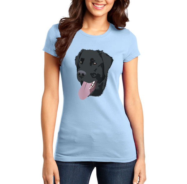 Black Lab Tongue Out - Women's Fitted T-Shirt