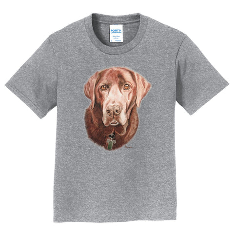 Chocolate Labrador Portrait - Kids' Unisex T-Shirt
