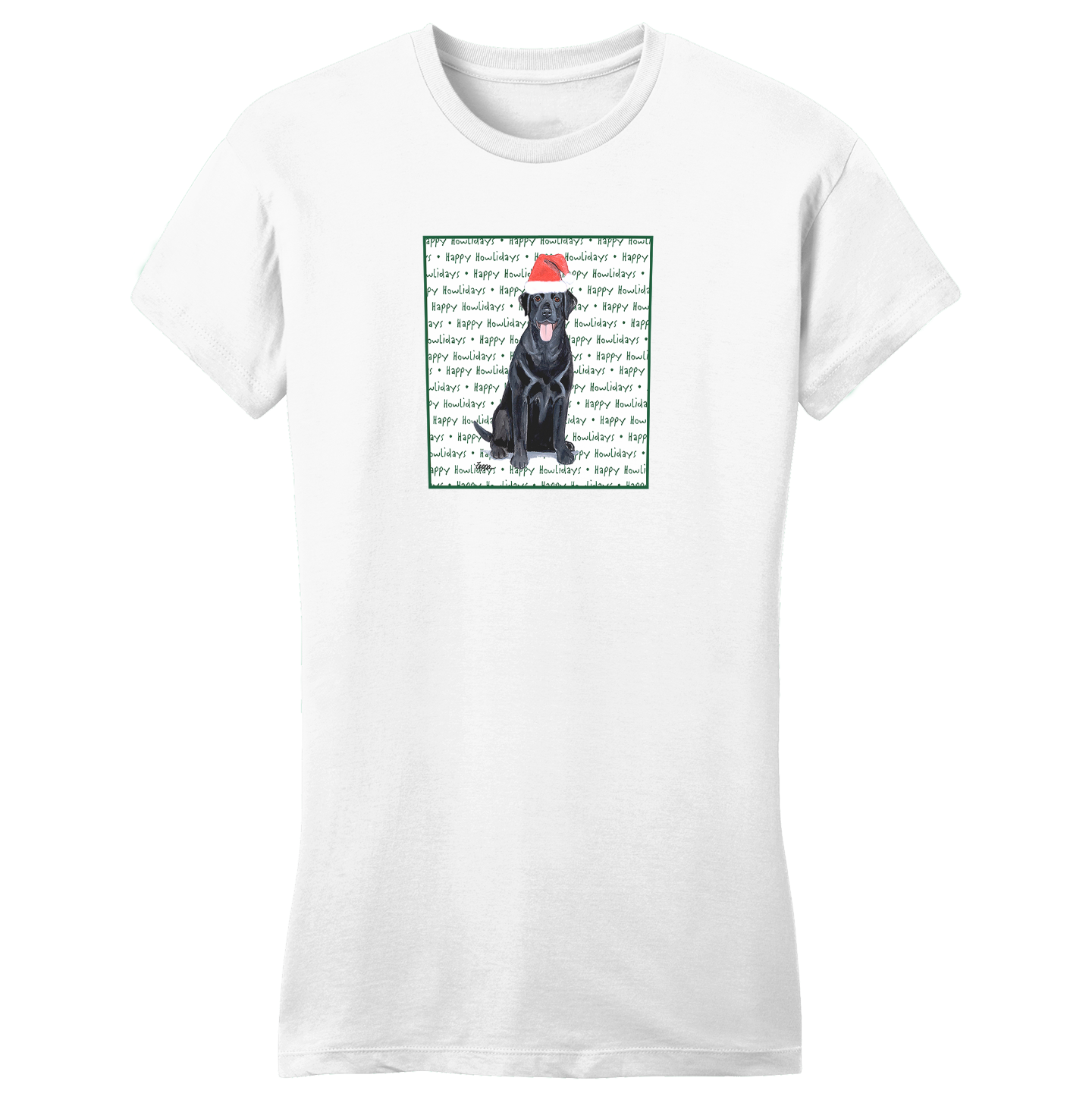 Black Lab Howlidays - Women's Fitted T-Shirt