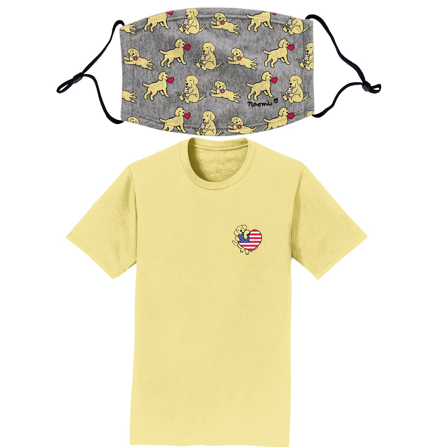 Yellow Lab Puppies - T-Shirt/Mask Combo Pack