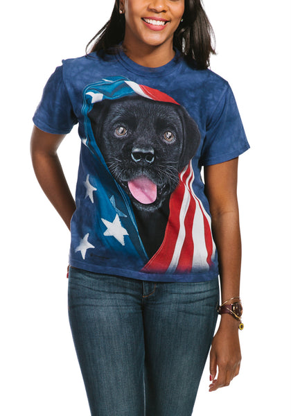 Patriotic Black Lab Pup - Adult Unisex T-Shirt