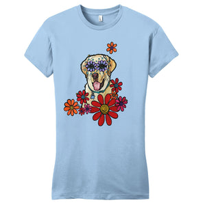 Labrador Purple Flower Eyes - Women's Fitted T-Shirt