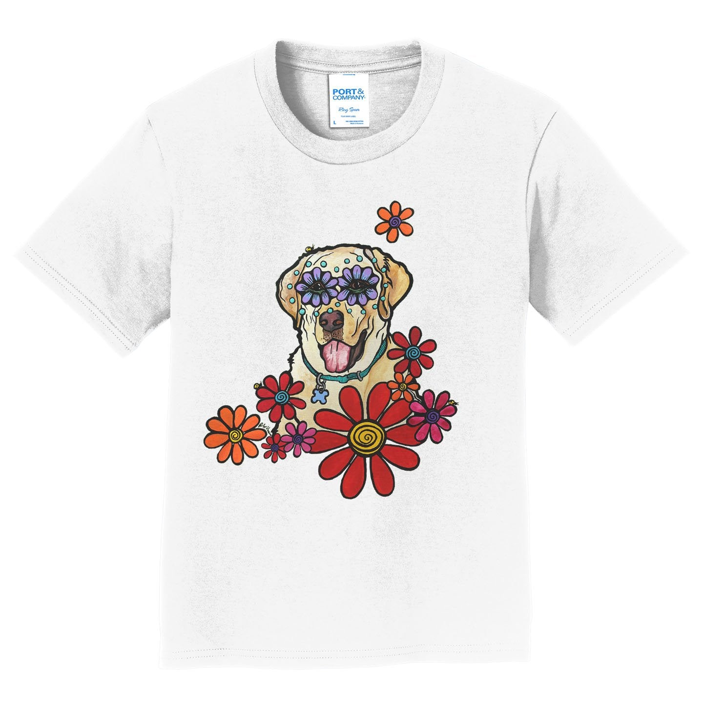 Labrador Purple Flower Eyes - Kids' Unisex T-Shirt