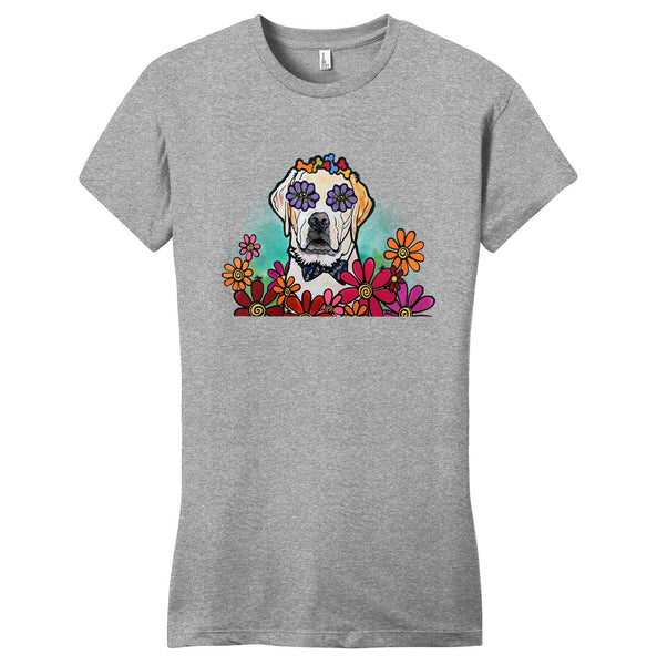 Labrador with Bow Tie and Flowers - Women's Fitted T-Shirt