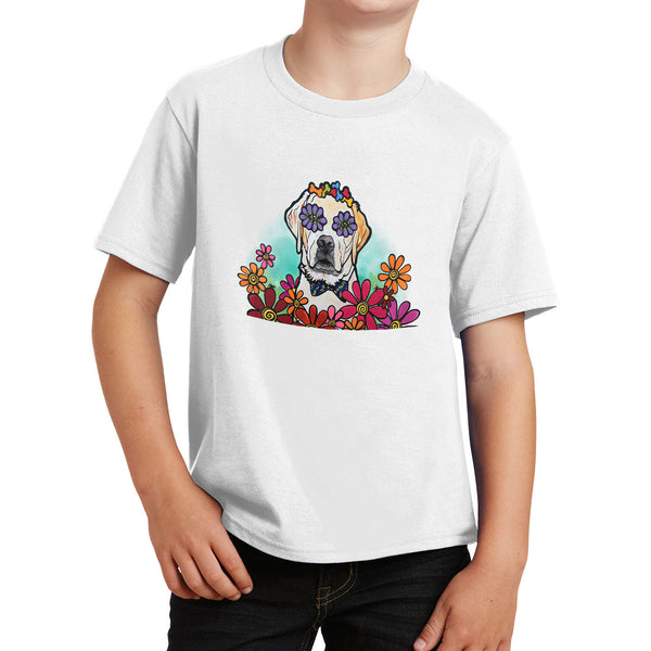 Labrador with Bow Tie and Flowers - Kids' Unisex T-Shirt
