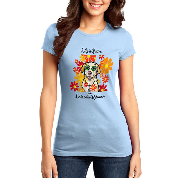 Life is Better - Labrador and Flowers - Women's Fitted T-Shirt