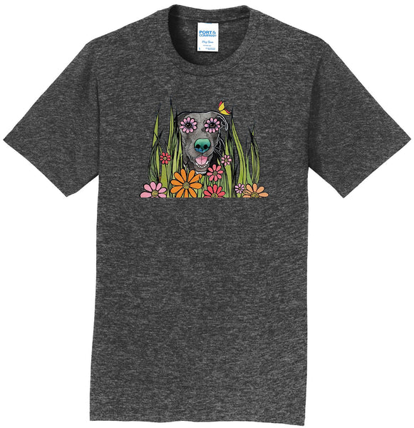 Black Labrador in the Grass - Adult Unisex T-Shirt