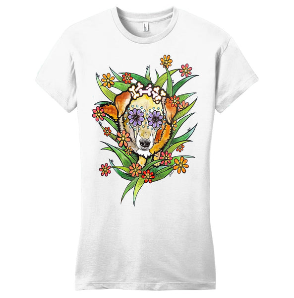 Yellow Labrador Surrounded in Flowers - Women's Fitted T-Shirt