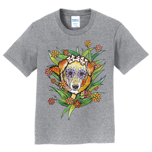Yellow Labrador Surrounded in Flowers - Kids' Unisex T-Shirt