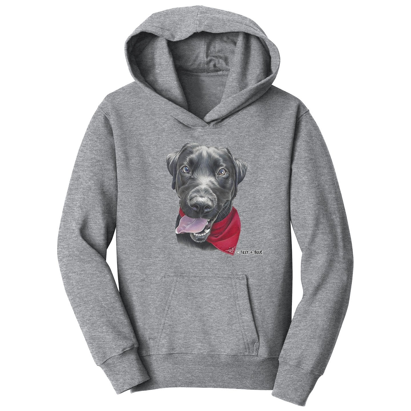 Black Lab With A Bandana - Kids' Unisex Hoodie Sweatshirt
