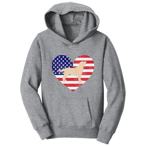 USA Flag Yellow Lab Silhouette - Kids' Hoodie Sweatshirt