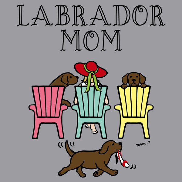 Chocolate Labrador Dog Mom - Deck Chairs Design - Adult Unisex Crewneck Sweatshirt
