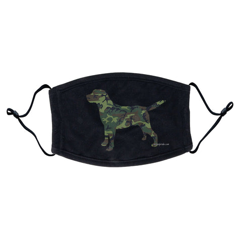 Labrador Silhouette Woodland Camouflage Face Mask - Adjustable Ear Loops, Reusable & Washable, Cloth - Labradors.com