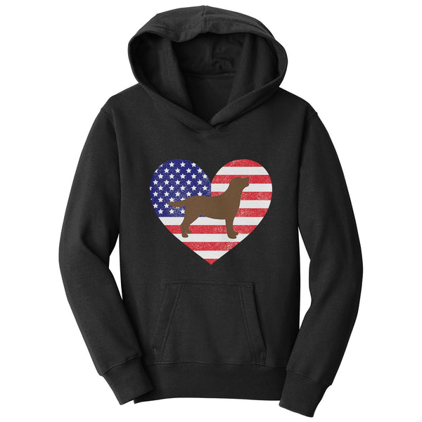 USA Flag Chocolate Lab Silhouette - Kids' Unisex Hoodie Sweatshirt