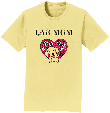Animal Pride - Flower Heart Yellow Lab Mom - Adult Unisex T-Shirt