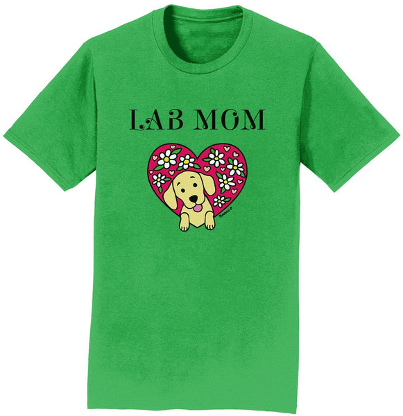 Flower Heart Yellow Lab Mom - Adult Unisex T-Shirt