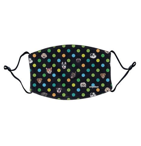 Polka Dot Dogs - Adjustable Face Mask, Breathable, Reusable, Printed in USA