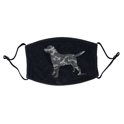Labrador Silhouette Winter Camouflage Face Mask - Adjustable Ear Loops, Reusable & Washable, Cloth - Labradors.com