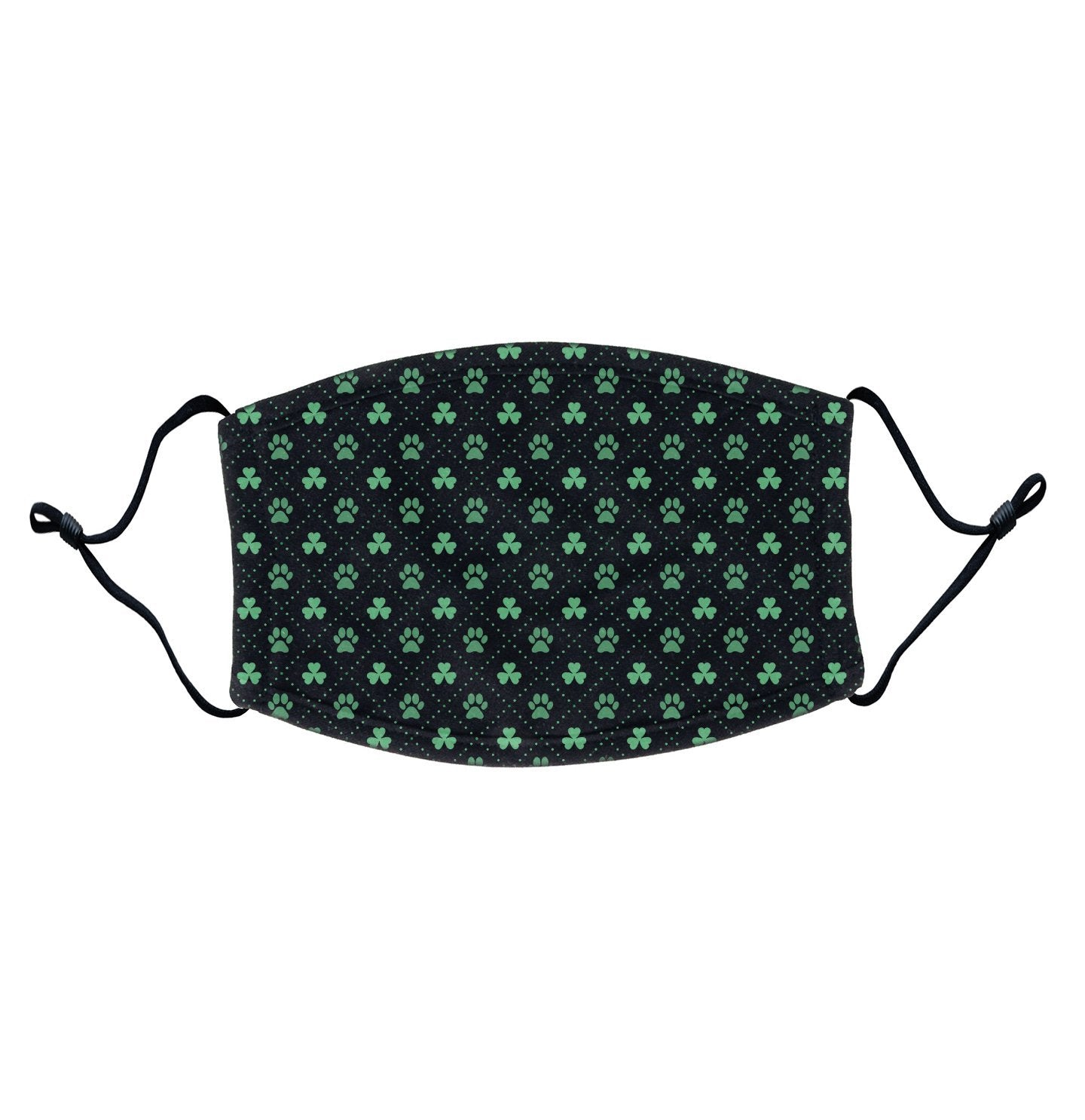 Animal Pride - Shamrock Paw Print Pattern - Adult Adjustable Face Mask