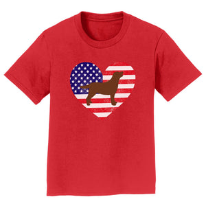USA Flag Chocolate Lab Silhouette - Kids' Tee Shirt
