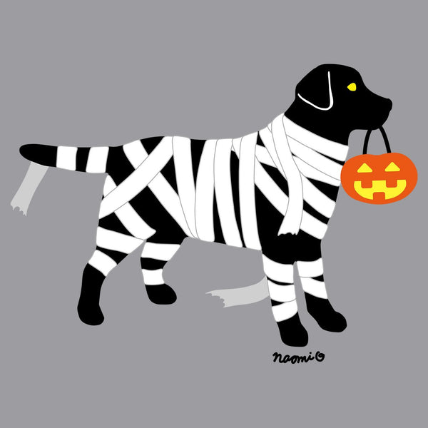 Black Lab Mummy Trick or Treater - Adult Unisex Long Sleeve T-Shirt