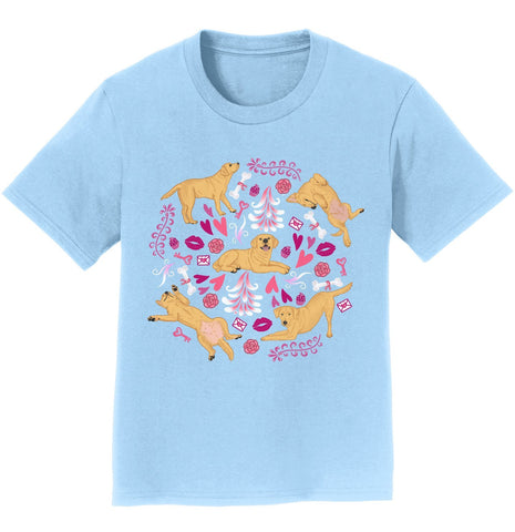 Yellow Labrador Pink Fleur Youth Shirt
