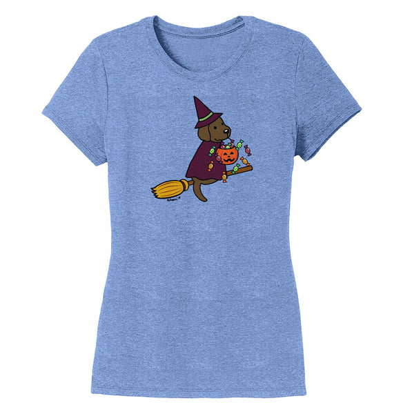 Chocolate Lab Witch - Halloween - Women's Tri-Blend T-Shirt