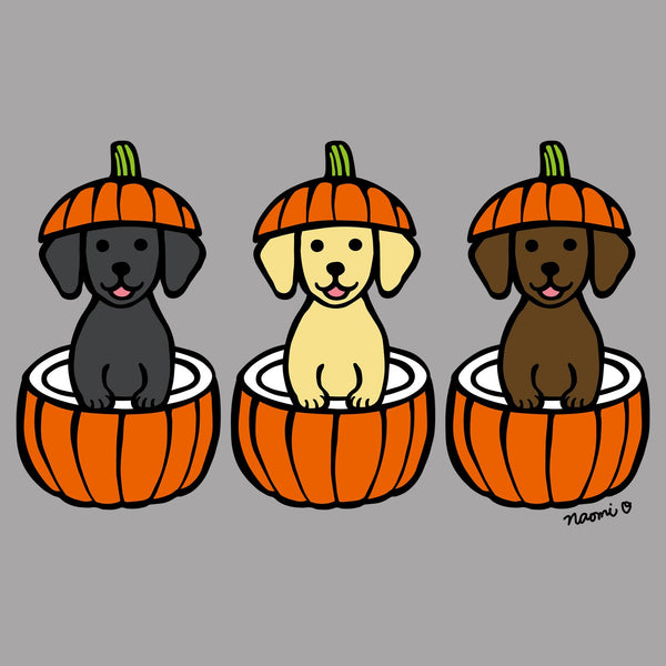 3 Pumpkin Lab Pups - Women's V-Neck Long Sleeve T-Shirt