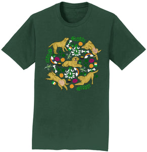 Yellow Labrador Green Fleur Design - Adult Unisex T-Shirt