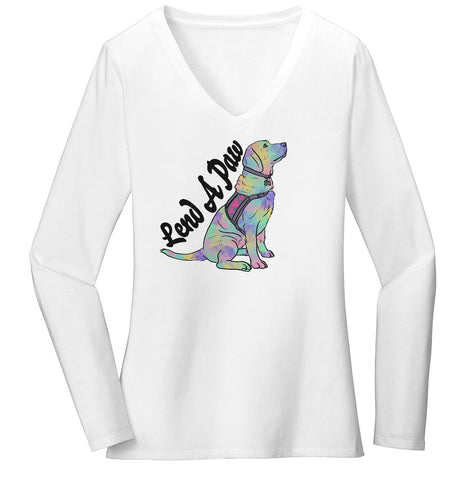 Animal Pride - Lend a Paw Labrador Retriever - Women's V-Neck Long Sleeve T-Shirt