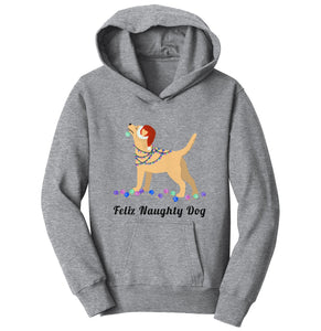 Feliz Naughty Dog Yellow Labrador- Youth Hoodie Sweatshirt